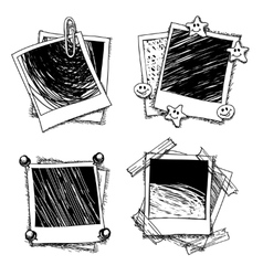Vintage doodle photo frames vector