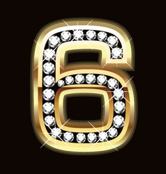 Number six bling gold and diamonds vector
