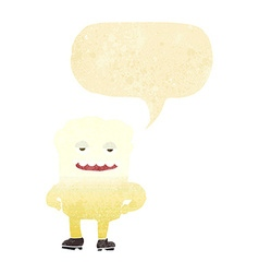 Cartoon tooth looking smug with speech bubble vector
