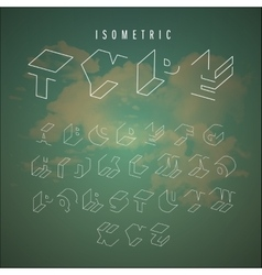 Isometric outline alphabet vector