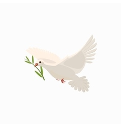 Dove with olive branch icon cartoon style vector