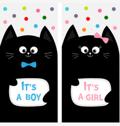 black cat family couple with bow flyer poster set vector image vector image