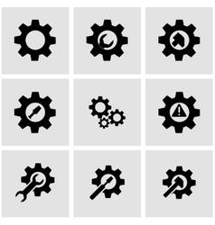black tools in gear icon set vector image vector image