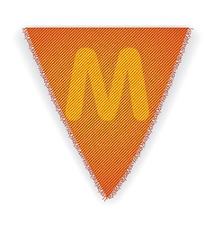 Bunting flag letter m vector