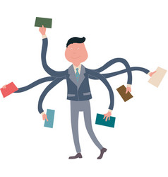Businessman multitasking with multiple arms vector