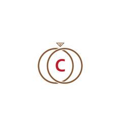 c letter ring diamond logo vector image vector image