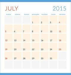 Calendar 2015 flat design template July Week vector image vector image