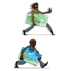 Cartoon thieves with bank cards and money vector image