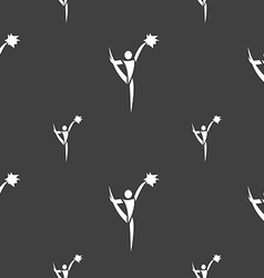Cheerleader icon sign seamless pattern on a gray vector