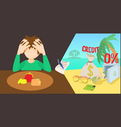 Credit problem horizontal banner cartoon style vector