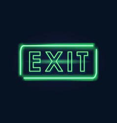 exit green neon sign vector image vector image