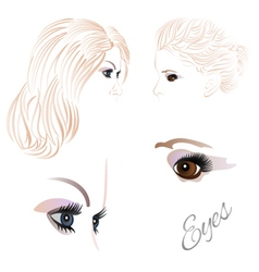 Females eyes brown and blue vector image vector image