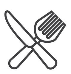 fork and knife line icon dinner and restaurant vector image