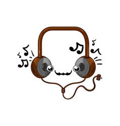funny headphones isolated cartoon character vector image