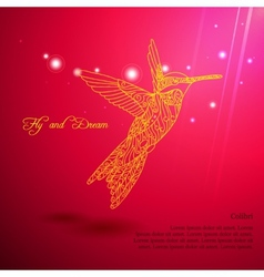 Gold lace colibri flying for dream vector