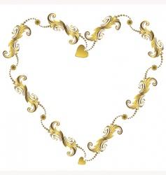 gold Valentine's floral frame vector image vector image