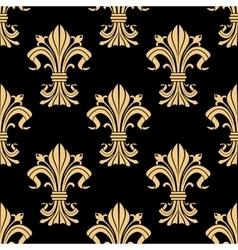 Golden victorian fleur-de-lis seamless pattern vector