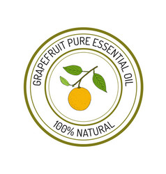 Grapefruit essential oil label aromatic plant vector