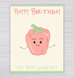 greeting card with cute smile pepper on a wooden vector image vector image