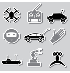 Hi-tech modern technology toys simple stickers vector