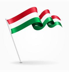 hungarian pin wavy flag vector image vector image