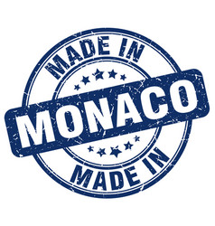 Made in monaco blue grunge round stamp vector