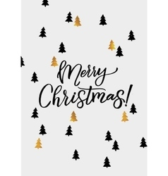 Merry christmas hand lettering and golden tree vector
