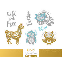 Metallic temporary tattoos gold silver sugar vector