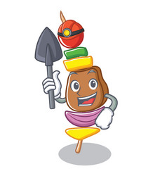 Miner barbecue character cartoon style vector