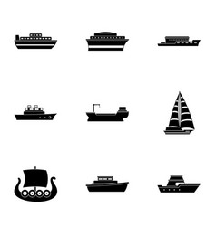 Motorship icons set simple style vector