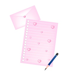 Pencils lying on blank page and love envelope vector