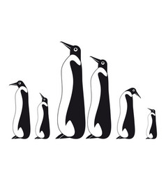 penguin silhouettes on the white background vector image vector image