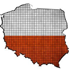 Poland map with flag inside vector image vector image