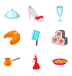 Regale icons set cartoon style vector