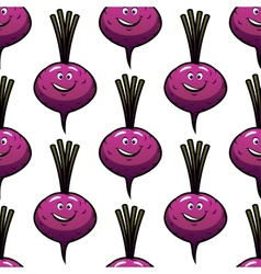 Seamless smiling cartoon beet background vector image