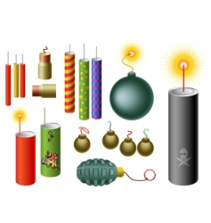set of firecrackers vector image vector image