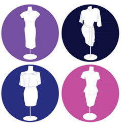 set of icons with women dresses vector image