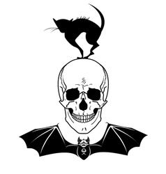 skull cat and bat vector image vector image
