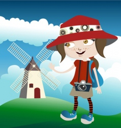 tourist with mill vector image
