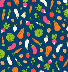 Vegetables pattern on blue background vector