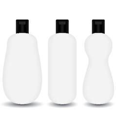 White plastic shampoo lotion bottle cosmetic vector