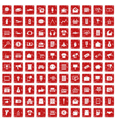 100 marketing icons set grunge red vector