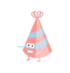 Stripy party hat children birthday party attribute vector