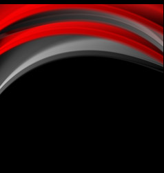 Red and black smooth waves corporate background vector