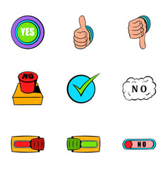 Yes gesture icons set cartoon style vector