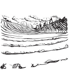Hand drawn field panoramic wide landscape vector