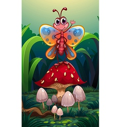A butterfly standing above the big red mushroom vector