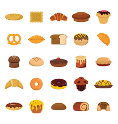 Bakery and pastry products icons set vector