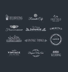 Collection of vintage elements vector