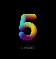 3d iridescent gradient number 5 vector